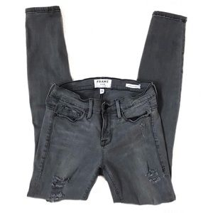 FRAME DENIM Grey Shred Distressed Skinny Jeans 26